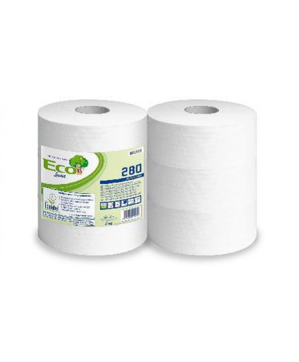 Maxi Toiletpapier - wit - recycled tissue - Eco - 2 laags - 280 m - 6 rollen