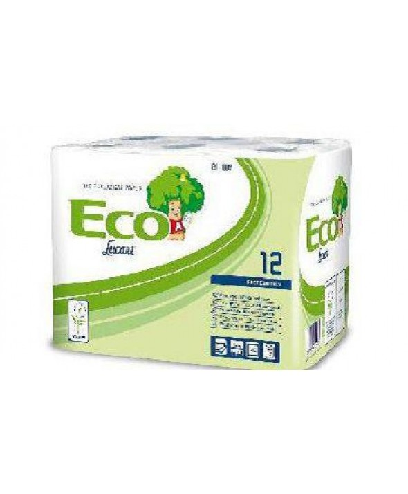 Toiletpapier - wit - recycled tissue - ECO - 2 laags - 200 vel - 10 x 48 rollen (10x4x12)