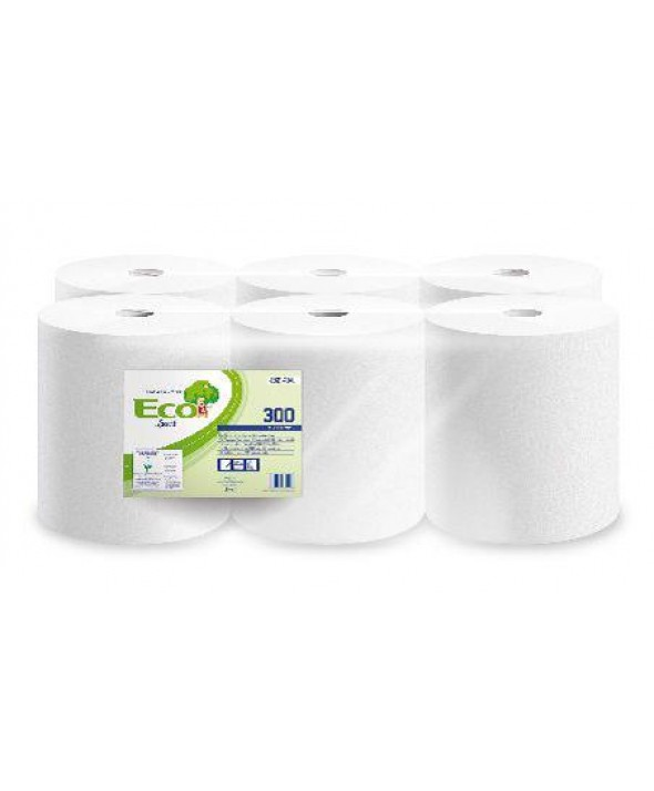 Maxi poetsrol - wit - recycled tissue - 1 laags - 300 m x 21 cm - 6 rollen