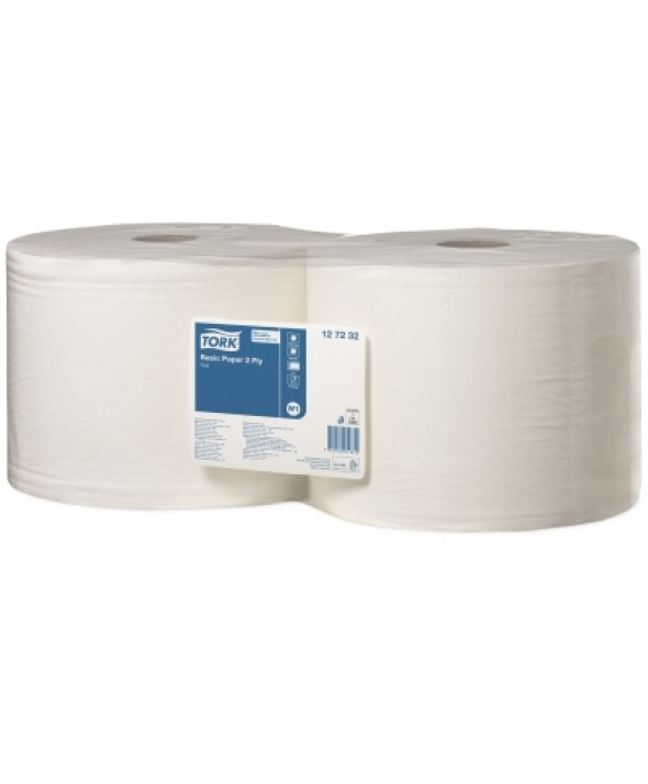 Poetsrol - wit - recycled tissue - 2 laags - 510 m x 25 cm - 2 rollen