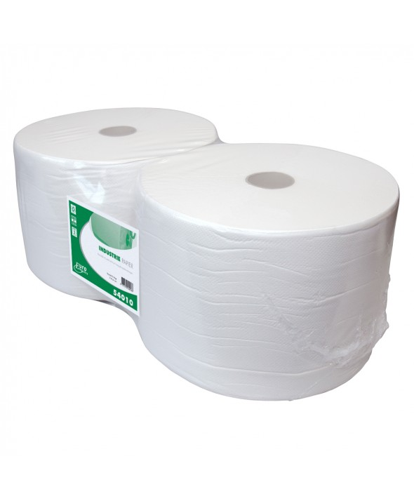 Poetsrol - wit - recycled tissue - 1 laags - 300 m x 21 cm - 2 rollen
