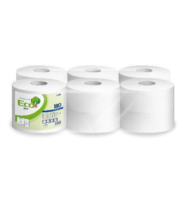Mini Toiletpapier - wit - zuiver tissue - Eco - 2 laags - 180 m - 12 rollen