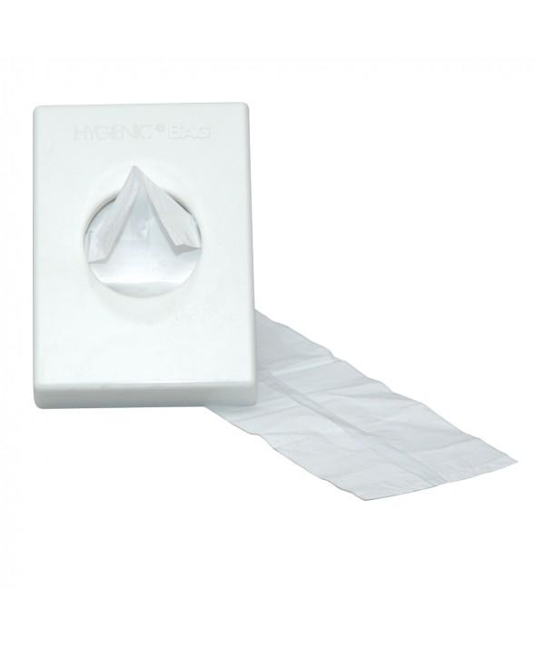 Damesverbandzakhouder t.b.v. plastic zakjes, kunststof wit