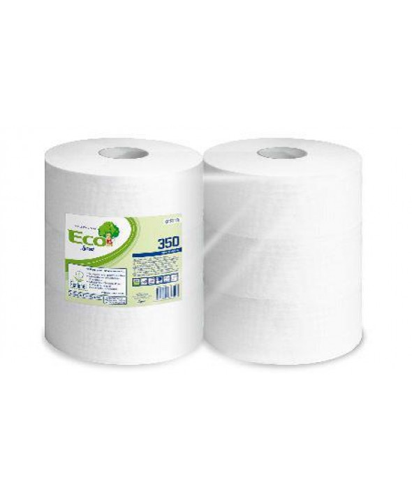 Maxi Toiletpapier - wit - recycled tissue - Eco - 2 laags - 350 m - 6 rollen