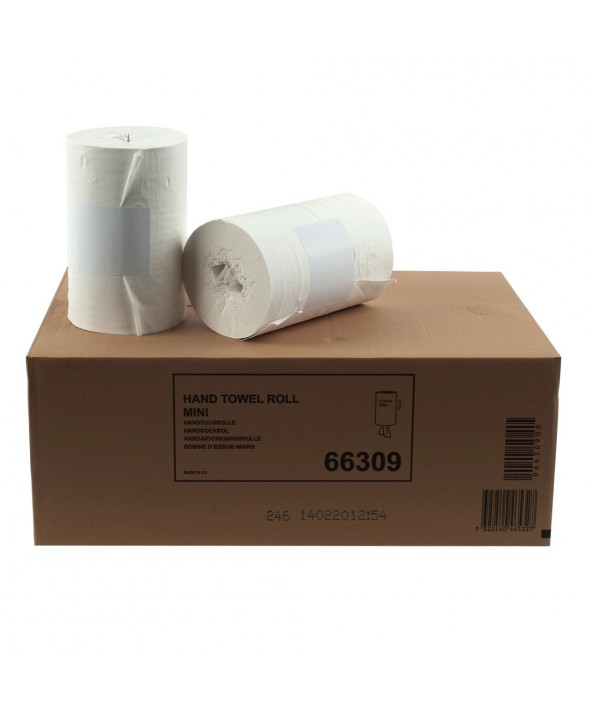 Mini poetsrol - wit - recycled tissue - 1 laags - 120 m x 22 cm - 11 rollen