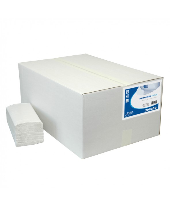 Handdoekjes - Zig zag - recycled tissue - wit - 1 laags - 25 x 23 cm - 5000 stuks (20x250)