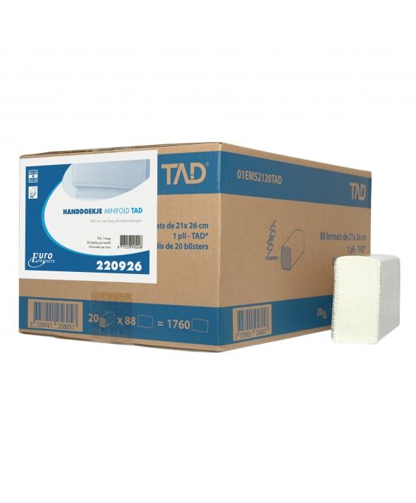 Handdoekjes - Slimfold/Minifold - wit - 1 laags - 26,5 x 20,5 cm - 1760 stuks (20x88)